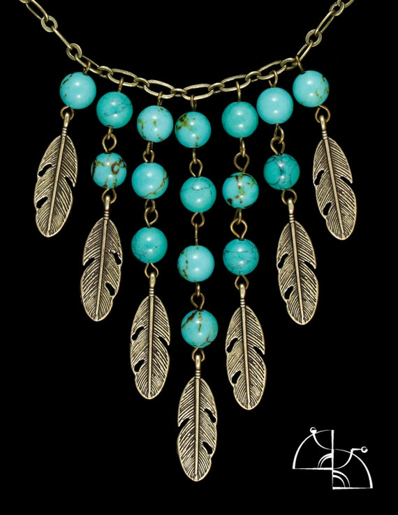 Spring Pocahontas. Jewelry Set. Bright turquoise necklace with feathers and earrings.