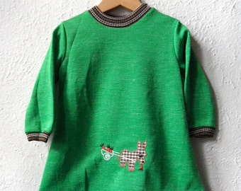 Little Donkey - 1960's/ 1970's Green Swing Dress - Age 1 to 4 Years