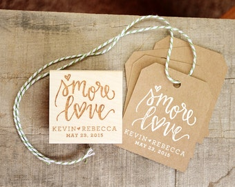 S'more Love Rubber Stamp, With or WIthout Personalized Name, Wedding Favor Tags with Wedding Date for S'more Gift Bags and Favors