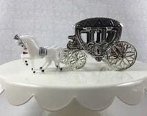8 Silver Horse Drawn Cinderella Coach Carriage - Wedding, Quinceanera, Princess Party Cake Topper, Favor, Candy Container, Table Centerpiece
