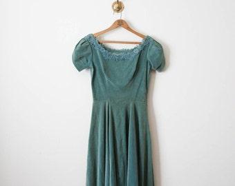 vintage 60s dark cyan velvet dress