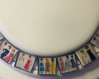 Vintage Fashion Lovers Bracelet - 1960s Sewing Pattern Covers