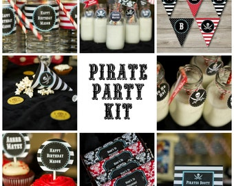 Pirate Party Kit with Editable Text, Printable Pirate Party Kit, DIY Pirate Party Kit, Kids Pirate Party Print at Home, Pirate Birthday Kit