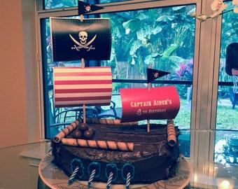 Pirate Cake Sails with Editable Text, Printable Pirate Cake Topper, DIY Pirate Birthday Cake Decoration, Printable Pirate Cake Decoration
