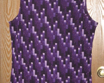 Womens Bonkers 18/20 Purple Shimmer Sleeveless Tunic Top/Blouse