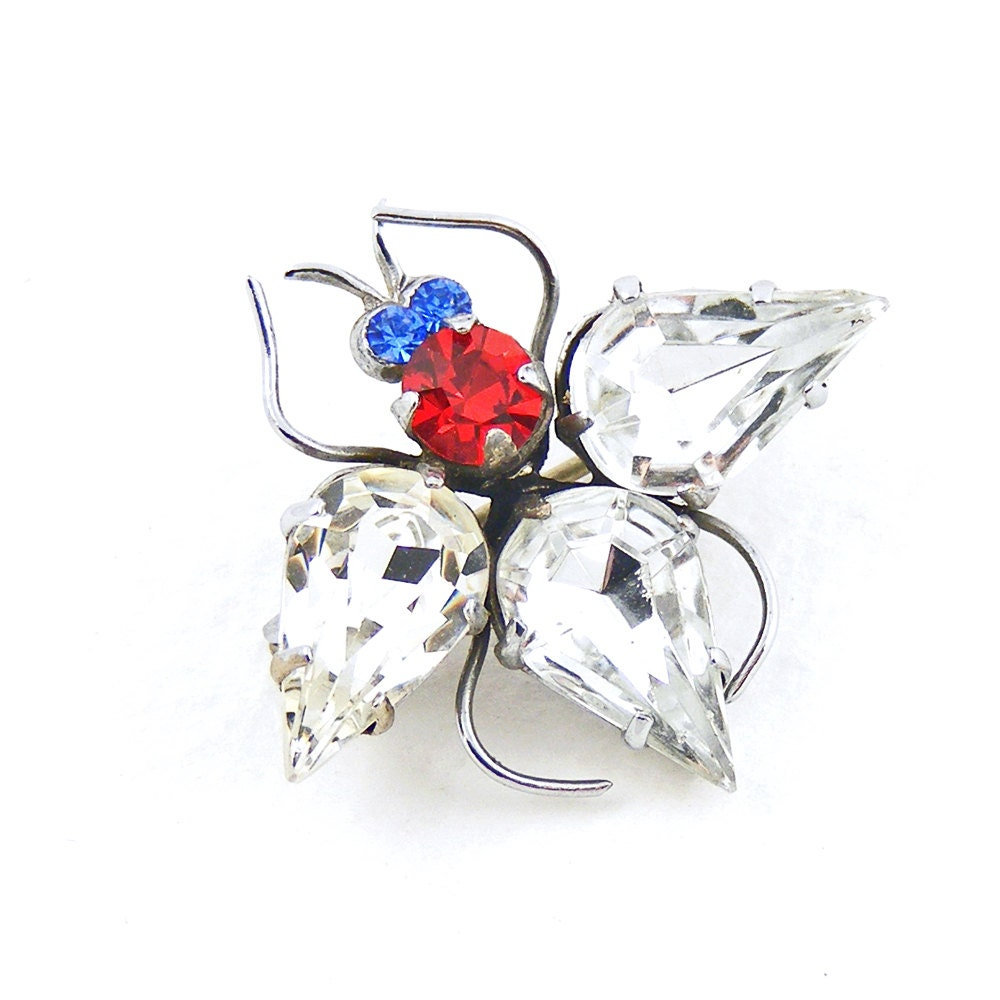 Vintage Insect Brooch, Vintage Jewelled Bug Pin, 1930s Recycled Jewellery, Red White Blue