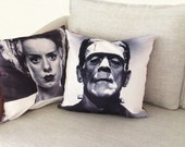 "monster and the bride of frankenstein - set of 2 - 18"" velveteen pillow case -  his and hers"