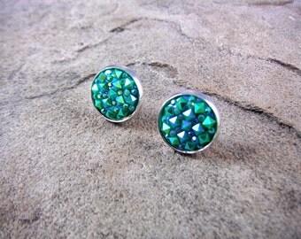 Green Druzy Earrings, Teal Green Earrings, Green Crystal Earrings, Faux Druzy Earrings, Gemstone Earrings, Druzy Stud Earrings