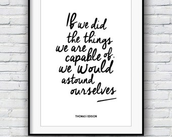 Thomas Edison quote, Inspirational quote, Quote poster, Inspirational print, wall art, Motivational poster, Typography poster