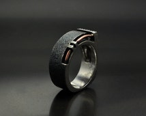 "Silver Steampunk Industrial Ring ""Tersusum"""
