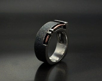 "Silver Contemporary Industrial Men's Ring ""Tersusum"" I Men's Handmade Custom Ring 