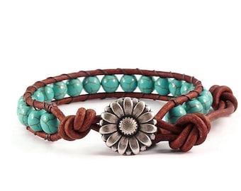 Leather Wrap Bracelet Turquoise Blue Magnesite Gemstones Daisy Clasp Beaded Jewelry