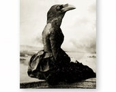 "Crow Art Print, Raven Art, Collage, Gothic Decor, Anthropomorphic, Creepy Art Black and White Victorian Animal (3 Sizes) ""The Dark Longing"""