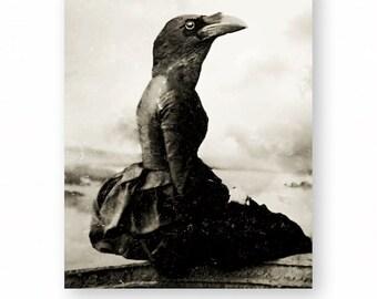 "Crow Art Print, Raven Art, Collage, Gothic Decor, Anthropomorphic, Creepy Art Black and White Victorian Animal (3 Sizes) ""The Dark Longing"""