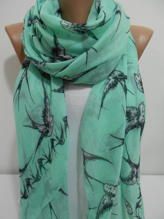 bird scarf mint scarf bird print scarf animal infinity scarf