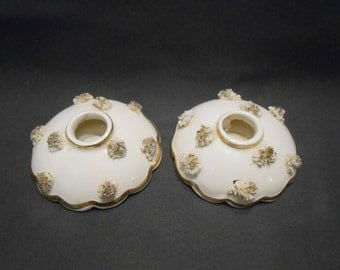 Holt-Howard Candle holders white Porcelain with gold colored trim lovely Made in Japan