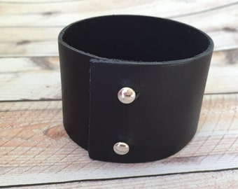 Wide Black Leather Cuff, Leather Cuff, Leather, Minimalist