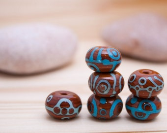 Brown Ethnic Beads - Blue Turquoise Pattern - Bead Set of 6 - Handmade Lampwork