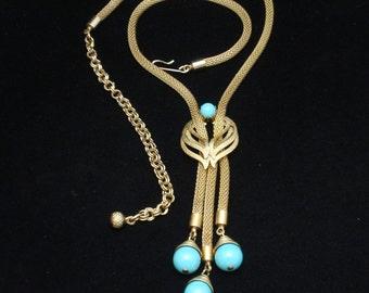 Mesh and Aqua Glass Bead Tassel Necklace Vintage