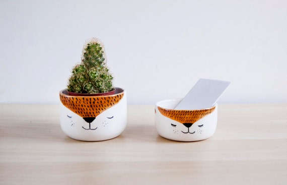 Cute Ceramic Fox Desk Accessories Office Decor Ceramic Organizer Bowls Handmade Ceramics Pottery