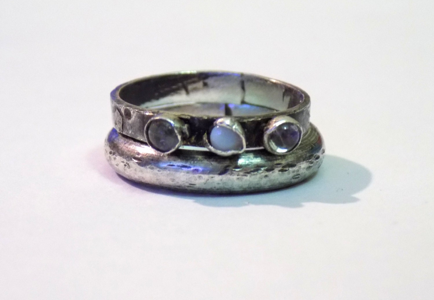 tarnished sterling silver moonstone and opal ring set
