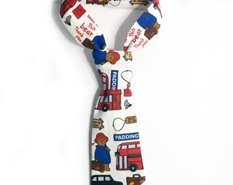 Paddington Bear Station Inspired kids pre tied Neck Tie, Newborn Homecoming, Baby Shower Gifts, Toddler, Velcro Closure, Photo Prop, boy