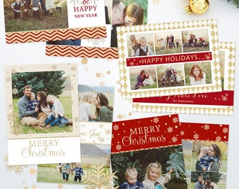 SAVE 45% - Bundle Christmas Card Templates for Photographers - 5x7 Holiday Photo Cards 03 - C232, Instant Download