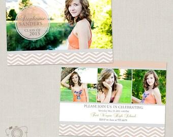 Senior Graduation Announcement Template for Photographers - 5x7 Flat Photo Card 09 - C154, INSTANT DOWNLOAD