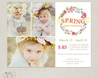 Spring Mini Session Template - Marketing Board for Photographers 076 - C256, INSTANT DOWNLOAD