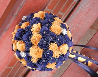 XL Handmade Paper Wedding Bouquet Bride or Bridesmaids Bouquet ANY Colors Free matching Boutonniere Golden Yellow and Midnight Blue