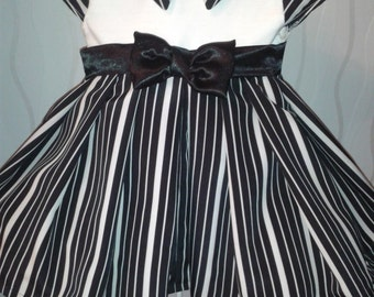 Completely Unique - Black and Cream Stripe Baby Dress