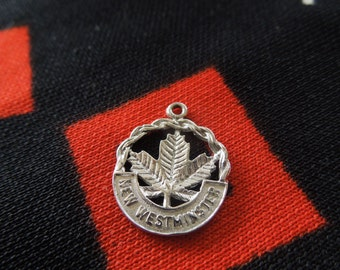 Sterling New Westminster Charm Canada Canadian Maple Leaf Cut Out Symbol Charm Sterling Silver Charm for Bracelet from Charmhuntress 01175