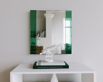 Decorative Wall Mirror Art Deco Handmade Frameless With Custom Green
