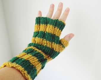 Green and gold armwarmers, striped fingerless gloves