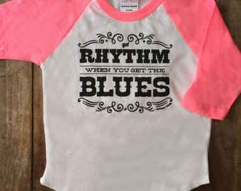Get Rhythm When You Get the Blues Johnny Cash T-Shirt for children, Cool kids rock n roll shirt.