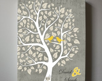 Wedding Anniversay Family Tree Canvas Wall Art - Home Decor Personalized Gift For Wedding Anniversary