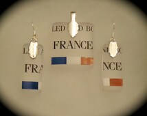 Grey Goose Recycled Glass Bottle Earrings & Pendant Set - FREE SHIPPING
