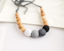 Black white ombre nursing necklace - teething necklace - breastfeeding necklace - babywearring