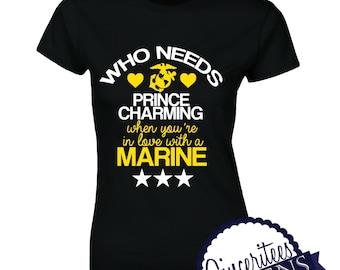 Marine Love Prince Charming Missy Fit T-Shirt or Racerback Tank