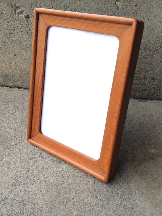vintage danish modern teak picture frame mid century modern photo frame desk table