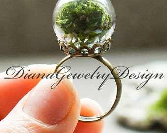 Real moss ring, nature ring, green moss, green ring, glass ring