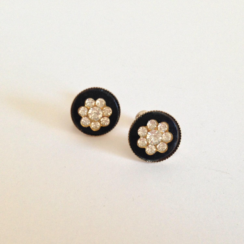 vintage black with white rhinestone twist back earrings