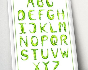 Crocodile Alphabet, ABC hand lettering, nursery wall art, nursery decor