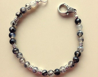 50 Shades of Gray Agate and Tibetan Silver Bracelet    Black, White, Gray Crazy Lace Agate Bracelet