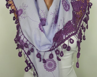 Purple Scarf Shawl Cotton Cowl Scarf with Laced Embroidered Scarf Women Spring Christmas Valentines Day Mothers Day Gift Ideas Gift For Her