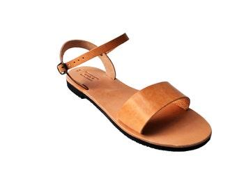 Summer Sandal Shoe Women's Sandals Natural Brown Greek Handmade Women's Flats