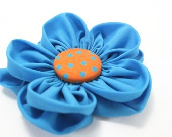 Blue Turquoise Dog Collar Flower Accessory Removable Fabric Flower
