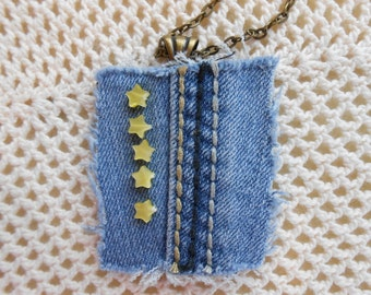 Yellow shell star necklace on denim seamline, recycled upcycled denim pendant, 24 inch gold-tone rolo chain, denim jewelry, accessory