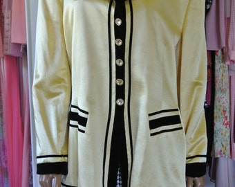 ESCADA Yellow Satin Blazer Jacket Pure Wool and Silk Black Velvet Trim rhinestone Buttons/ M/ L
