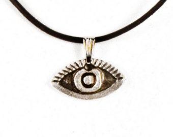 Evil Eye Necklace, Greek Mati, Hamsa, Nazar, Evil Eye Jewelry, Good Luck Charm on Black Leather or Rubber Cord, Men Evil Eye Necklace